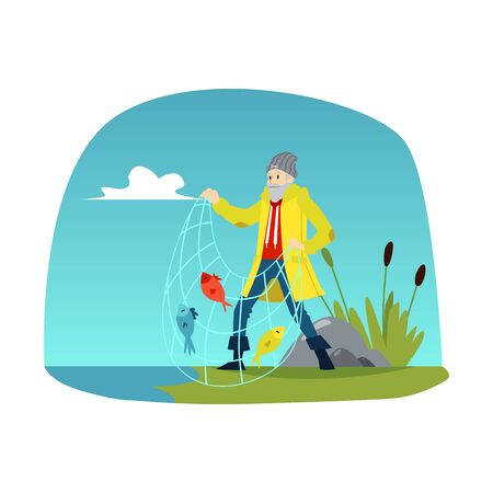 Fisherman with fishnet and caught fishes vector illustration on a background of river or lake landscape. Angler fishing the leisure and water sport activity concept.