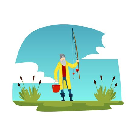 Old gray haired man fisherman standing and holding a fishing rod and a bucket near the reeds on the landscape and the sky. Fisherman and fishing concept, isolated vector flat illustration.