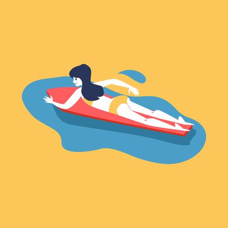 Woman swimming in sea or ocean water on her surfboard flat cartoon vector illustration isolated on yellow background. Summertime surfing - sportive and active young girl.