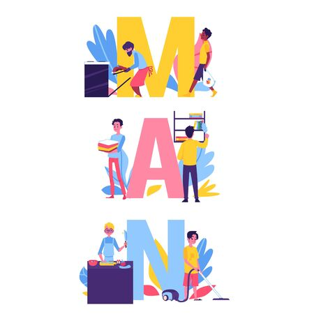 Man doing housework - cartoon people during household chores - baking, cleaning, cooking and going for groceries, working men around the word MAN - isolated flat vector illustration Ilustração