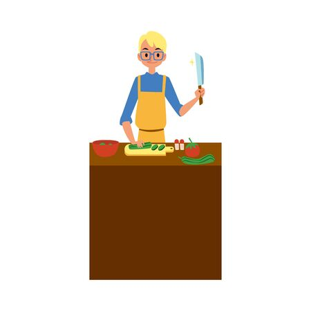 Man cooking food cartoon character helps with householding and housekeeping - flat vector illustration isolated on white background. Modern social men duties in family.