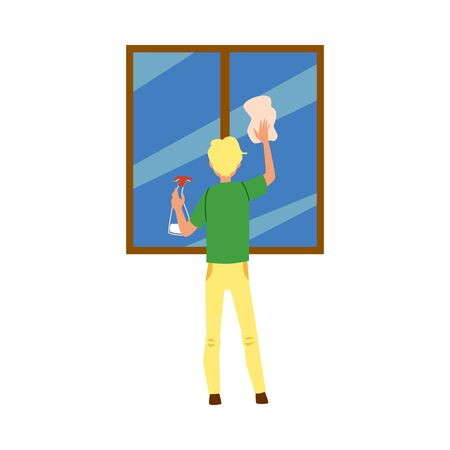 Cartoon man cleaning a window, isolated cleaner holding clean rag and spray bottle and doing house chores - flat hand drawn vector illustration on white background.
