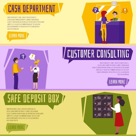 Bank office services banner set - cartoon people representing cash department, customer consulting and safe deposit box. Money exchange and client consultation - vector illustration Stock Illustratie