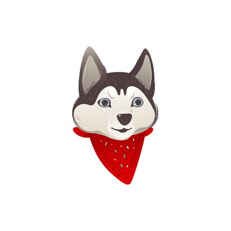 Husky dog muzzle or face with a red scarf, isolated vector cartoon illustration of a friendly pet.