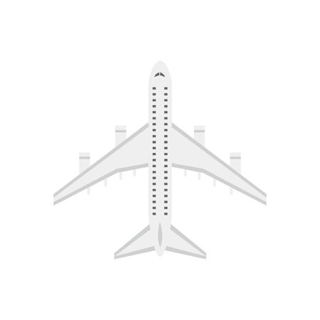 Plane or passenger airplane single object to place in aviation and vacation travel projects. Aircraft transport symbol - flat vector illustration isolated on background.