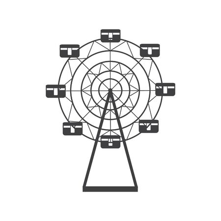 Ferris wheel silhouette icon, round carousel. The concept of entertainment, leisure and amusement park. Isolated vector line illustration.