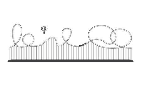 Icône de montagnes russes dans un parc d'attractions, loisirs amusants. Concept de divertissement et d'aventure, illustration vectorielle de ligne isolée.