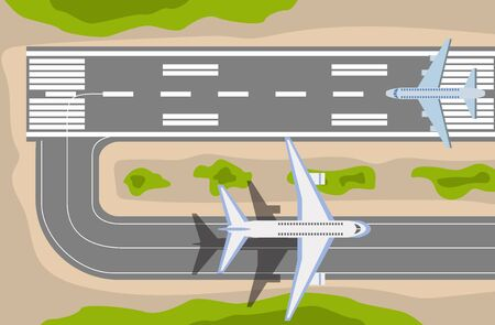 Banner with airplane taxiing and preparing for take off on runway at the airport, top view. Passenger aircraft beside airport building vector illustration in flat style.