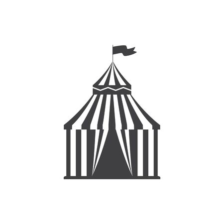 Holiday outdoor recreation symbol is black Shapito circus tent icon flat vector illustration isolated on white background. Children amusement parks element silhouette.
