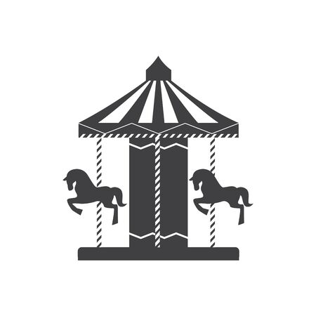 Carousel silhouette icon with horses and ponies in an amusement park, merry go round. Concept of children entertainment and childhood, isolated vector line illustration.