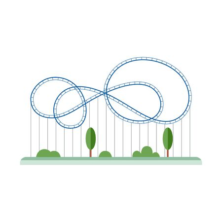 Blue cartoon rollercoaster with empty looping rail track - isolated roller coaster ride from amusement park standing on green park with trees - vector illustration Иллюстрация