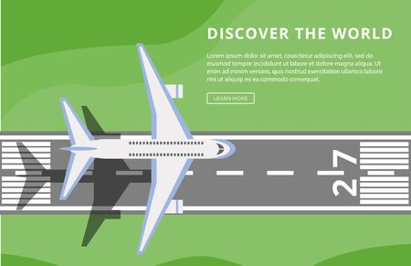 Discover the world motivational text with airplane on runway in banner or flyer trendy design. Airline travels, tourism and vacation concept flat vector illustration.