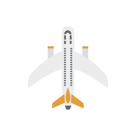 Plane or passenger airplane ready to flight icon in white and yellow to place in airline and travel project. Aircraft flat vector illustration isolated on background. Иллюстрация
