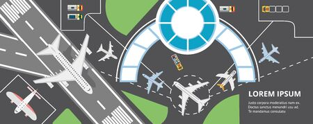 Top view airport area plan banner with text template - airplane flying off from terminal building and plane parking road - flat cartoon vector illustration Illustration