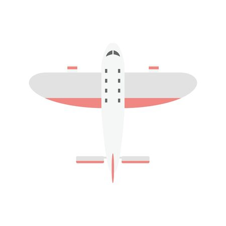 Small light weight motor sport airplane or private aircraft with red stripes - top view. Passenger plane isolated on white background flat vector illustration.