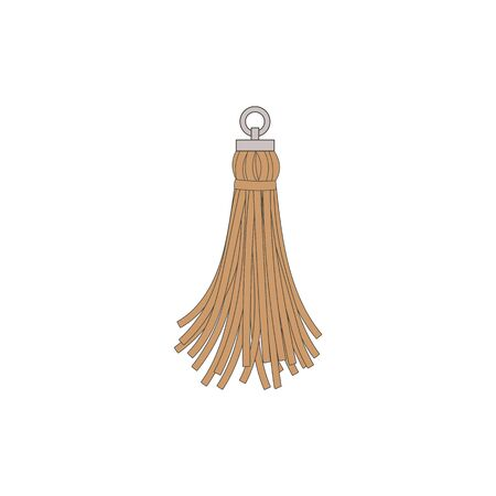 Brown tassel with fringe, decorative decoration and accessory for bag. Thread and cord brush, fashion concept. Isolated vector illustration of a fringe tassel.