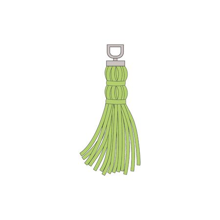 Green hand drawn tassel with suspension cord and flowing thread skirt isolated on white background, simple textile decoration object - vector illustration