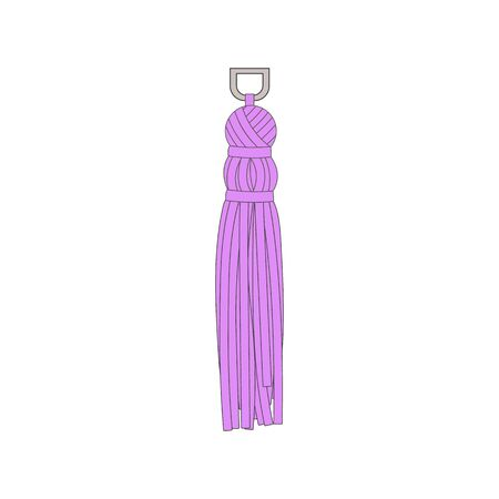 Decorative fabric tassel from lilac thread doodle cartoon vector illustration isolated on white background. Baroque decor for handmade invitations cards and packaging.