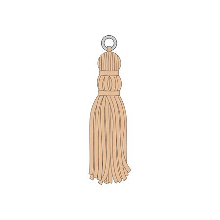 Yellow hand made tassel isolated on white background - textile decoration with fringe skirt and suspension cord in hand drawn cartoon style. Vector illustration