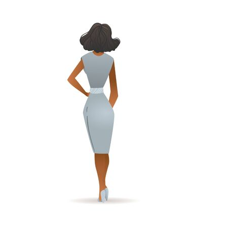Beautiful woman in grey dress seen from back view - cartoon model girl with dark skin standing in elegant outfit posing from behind, isolated vector illustration