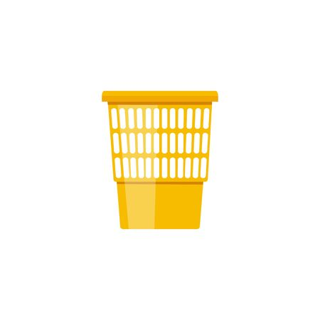 Empty plastic yellow garbage bin with holes - flat cartoon trash can for paper disposal. Simple isolated icon on white background - vector illustration Stockfoto - 130029217