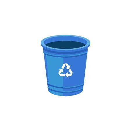 Riciclare il secchio dell'immondizia o il bidone della spazzatura con l'illustrazione piana di vettore di simbolo di riciclaggio isolata su fondo bianco. Rifiuti zero e concetto di argomento icona ecologia ambientale.