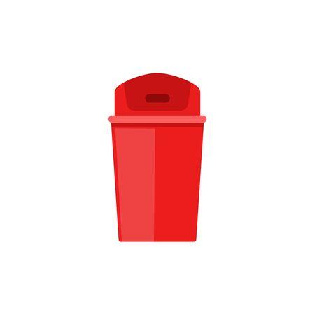 Poubelle en plastique rouge avec couvercle à rabat fermé - icône de poubelle plate isolée sur fond blanc. Illustration vectorielle de poubelle vide coloré simple. Vecteurs