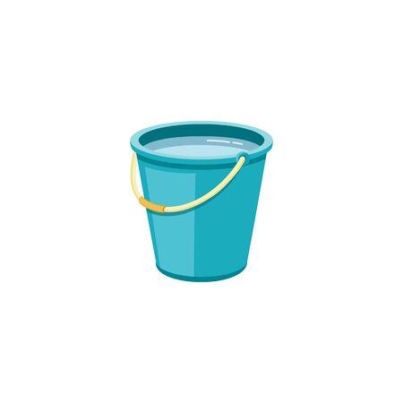 Plastic blauwe emmer met water voor huishoudelijke reiniging en thuiswassen. Plastic emmer, emmer en container met handvat, huishoudelijke apparatuur. Geïsoleerde cartoon vectorillustratie.