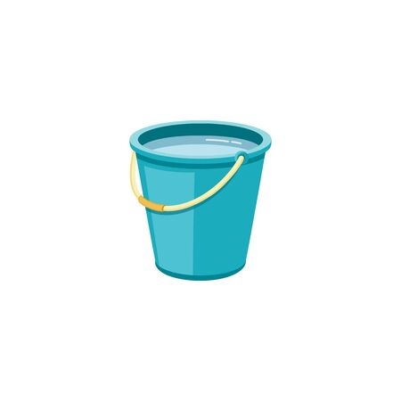 Plastic blue bucket with water for household cleaning and home washing. Plastic bucket, pail and container with handle, household equipment. Isolated vector cartoon illustration.