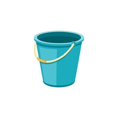 Ilustración de vector de cubo azul vacío, recipiente de líquido plástico aislado sin nada dentro. Objeto de limpieza doméstico sencillo con mango de goma beige.
