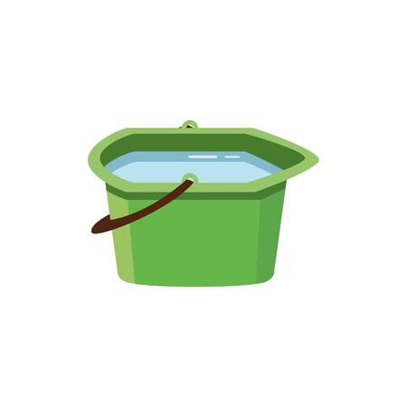 Small green plastic water bucket or pelvis full of water flat vector illustration isolated on white background. Household tool and equipment item for home cleaning.