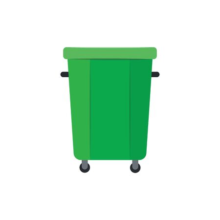 Green plastic trash can or bucket and recycle bin, waste container on wheels. Eco rubbish recycling concept, isolated flat vector illustration of trash can.