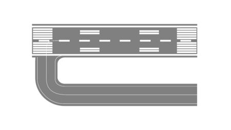 Airport runway for taking off and landing aircrafts vector flat illustration isolated on white background. Part of asphalt runway top view map and city landscape element.