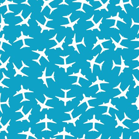 White airplanes on the blue sky background seamless pattern vector illustration. Endless texture on aircraft topic can be used for wallpaper, pattern fills and web pages.