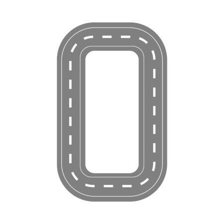 A circular airport runway for landing and taking off an airplane flight from the air. Isolated vector flat illustration, aviation concept.