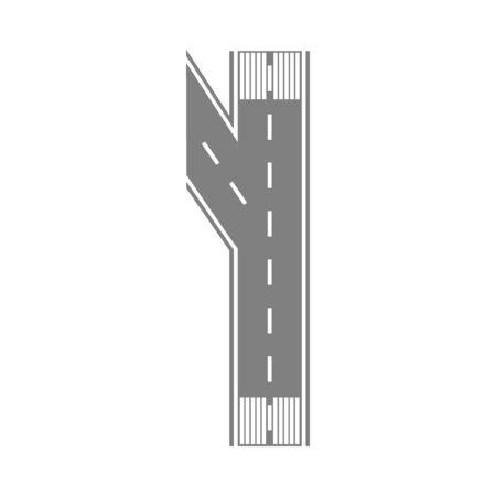 Franja de pista de aterrizaje de la pista en estilo plano de dibujos animados: simple trozo de carretera asfaltada que se divide en dos. Intersección del camino de la calle rectángulo gris aislado sobre fondo blanco - ilustración vectorial