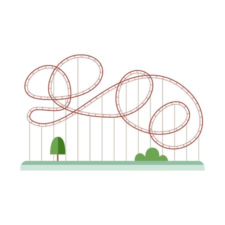 Rollercoaster or amusement parks attractions silhouette with trees, flat vector illustration isolated on white background. Entertainment and leisure time symbol.