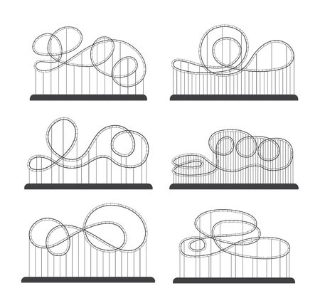 Roller coaster of amusement park various silhouette and loops set of vector illustrations isolated on white background. Attractions and rollercoasters rides outline icons.
