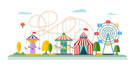 Amusement park attractions and rides vector flat illustrations isolated on white background for infographic design. Entertainment ferris wheel, carousel and circus.