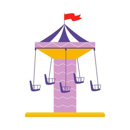 Isolated cartoon carousel with empty seats - colorful flat merry go round ride with red flag on top and swing chairs, amusement park attraction vector illustration Иллюстрация