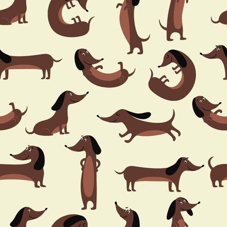 Dackelhund nahtloses Muster - lustiges Cartoon-Haustier in verschiedenen Posen, freundlich lächelnder Wursthund, der steht, sitzt und liegt - Vektorillustration