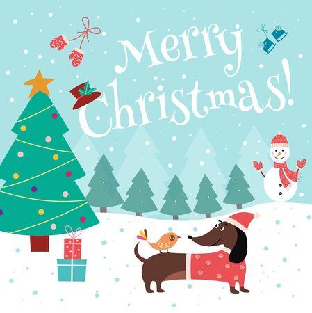 Weihnachtskarte mit süßem Dackel in Weihnachtsmütze und Strickpullover. Feiertagsdesign mit Karikaturwelpen auf Winterhintergrund mit Weihnachtsbaum - flache Vektorillustration. Vektorgrafik