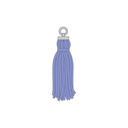 Textile tassel with metal suspension loop isolated on white background, blue rope decoration with fringe skirt and thread tuft - hand drawn vector illustration Vettoriali
