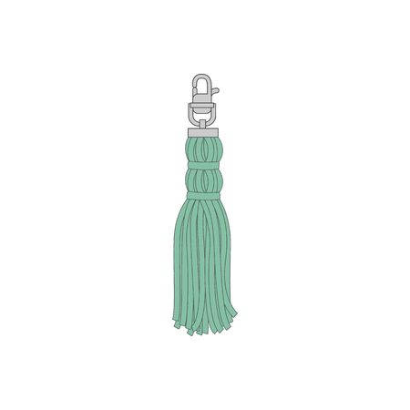 Vintage and retro decor, turquoise tassel with a metal carbine. Thread fringe brush or tassel for decoration, isolated vector illustration.
