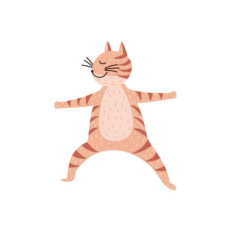 Cute yoga cat isolated on white background - cartoon pet standing in yoga pose training its balance, smiling animal in asana position - vector illustration