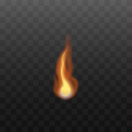 Red and orange bonfire flame on a transparent background. Fire burns, realistic vector illustration.