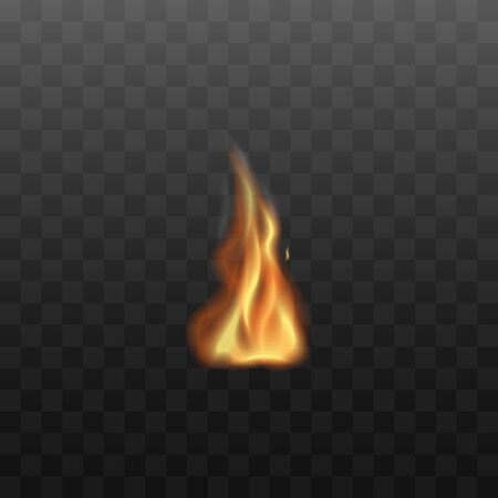Flames are burning, concept of flammable bonfire. Orange fire concept and danger symbol. Realistic vector illustration on a transparent background. Illustration
