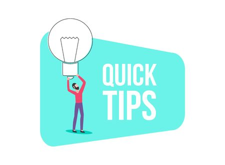 Banner of quick tips. Idea or solution concept, man holds a light bulb or lamp, isolated flat illustration.