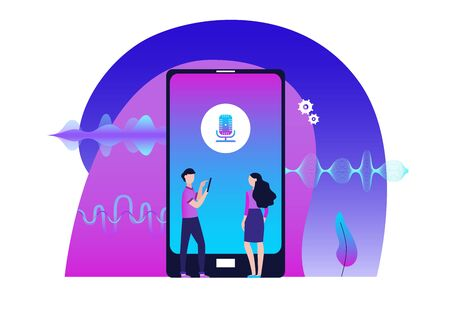 Mobile audio editor banner concept with people cartoon characters creating sound track on smartphone and music amplitude waves flat vector illustration in neon colors.