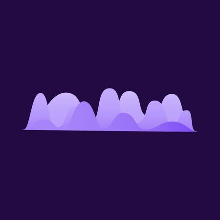 Sound frequency equaliser shape design isolated on dark background, colorful purple gradient with dynamic music volume flow wave line - vector illustration Illustration